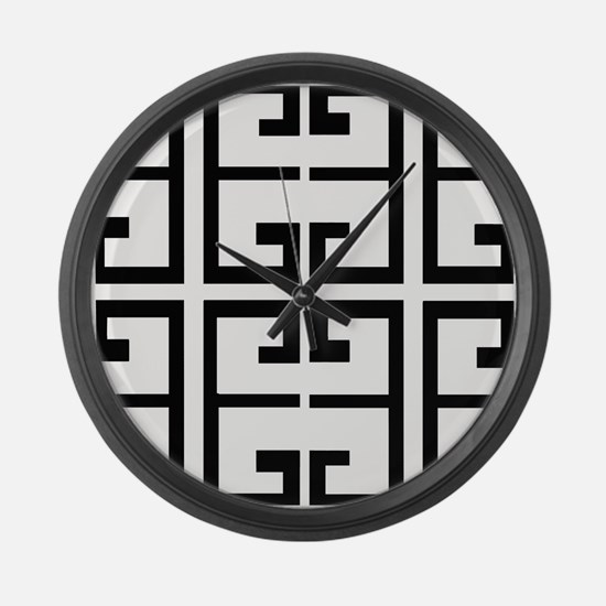 Black and White Tile Large Wall Clock