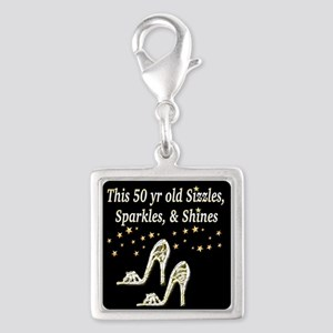 GLAMOROUS 50TH Silver Square Charm