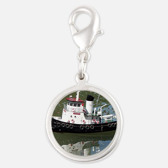 Model tugboat Silver Round Charm