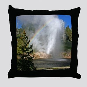 Riverside Geyser with Rainbow at Yell Throw Pillow