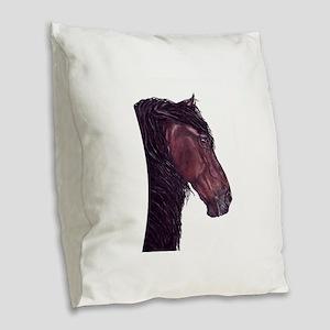 friesian horse Burlap Throw Pillow