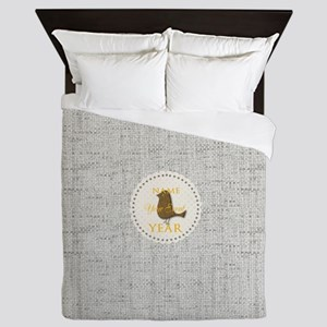 Chic Grey Monogrammed Queen Duvet