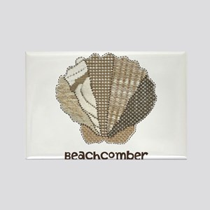 Customizable Scallop Seashell Fabric Collage Recta