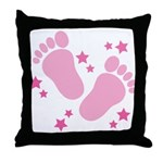 Pink Footprints and Stars Maternity Throw Pillow