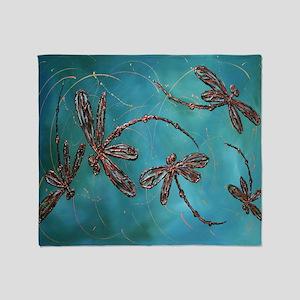 Dragonfly Flit Teal Splash Throw Blanket