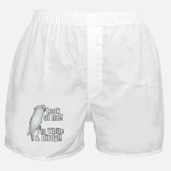 White & Birdy Boxer Shorts