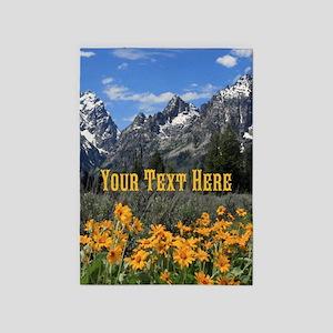 Grand Tetons Springtime Flowers and 5'x7'Area Rug