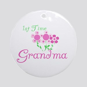 1st Time Grandma Ornament (Round)