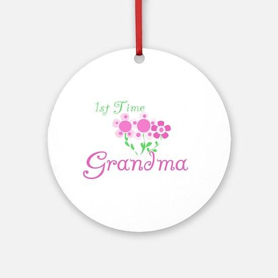 1st Time Grandma Ornament (Round)