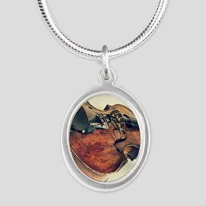 modern art Silver Oval Necklace
