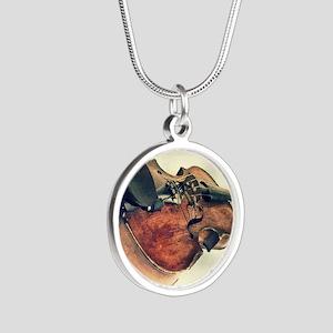 modern art Silver Round Necklace