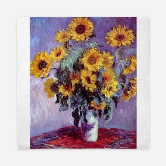 Bouquet of Sunflowers by Claude Monet Queen Duvet