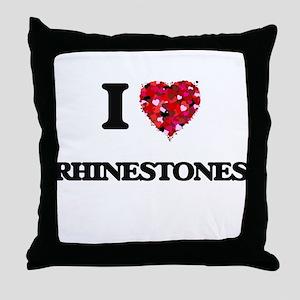 I Love Rhinestones Throw Pillow