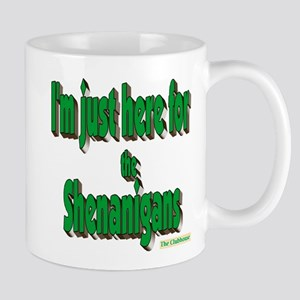Just here for the shenanigans (green) Mugs