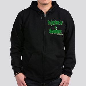 Just here for the shenanigans (green) Zip Hoodie