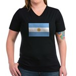 Flag of Argentina Women's V-Neck Dark T-Shirt