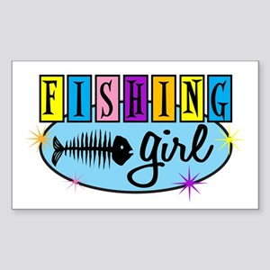 Fishing Girl Rectangle Sticker
