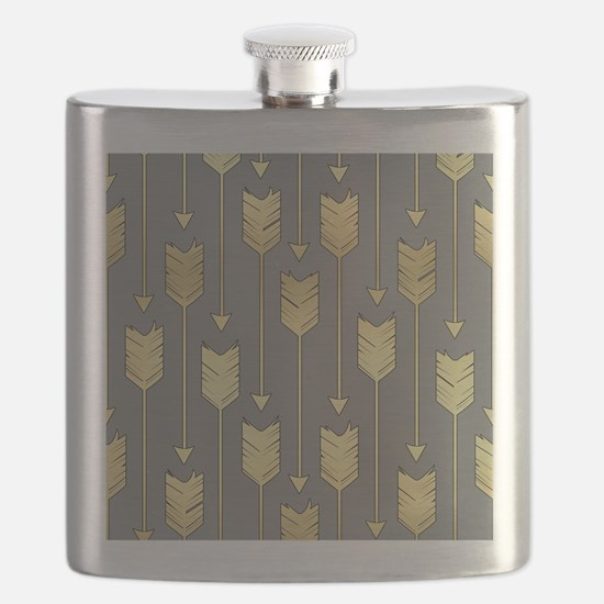 Gray and Faux Gold Arrows Pattern Flask