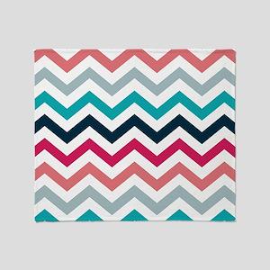 Pink & Blue Chevron Pattern Throw Blanket