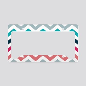 Pink & Blue Chevron Pattern License Plate Holder
