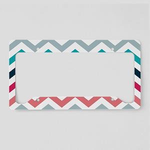 Pink & Blue Chevron Pattern License Plate Holder