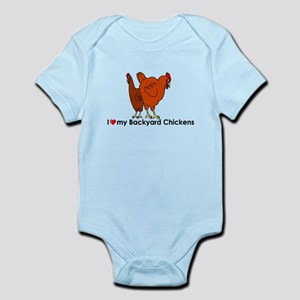 I Heart My Backyard Chickens Body Suit