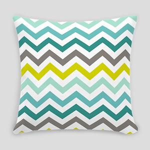 Ocean Colors Chevron Pattern Everyday Pillow