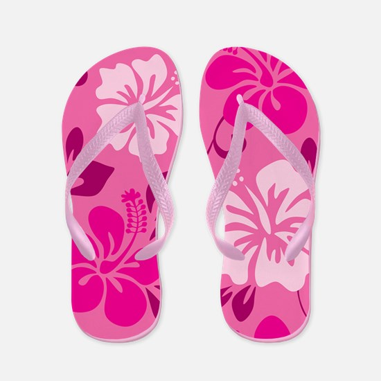 Shades of pink Hawaiian Hibiscus Flip Flops