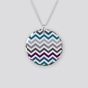 Purple, Blue & Grey Chevron Necklace Circle Charm