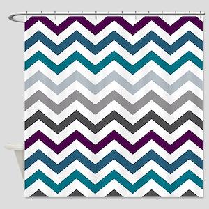 Purple, Blue & Grey Chevron Pattern Shower Curtain