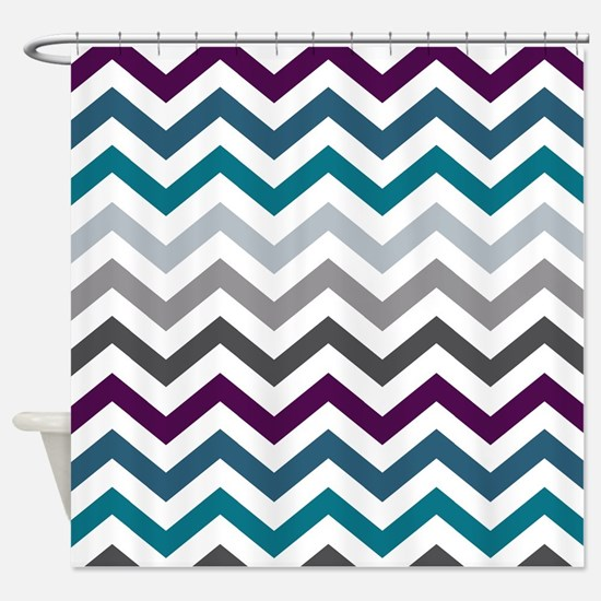 Purple, Blue & Grey Chevron Pattern Shower Curtain