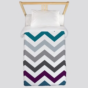 Purple, Blue & Grey Chevron Pattern Twin Duvet