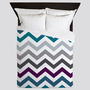 Purple, Blue & Grey Chevron Pattern Queen Duvet