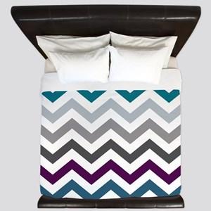 Purple, Blue & Grey Chevron Pattern King Duvet