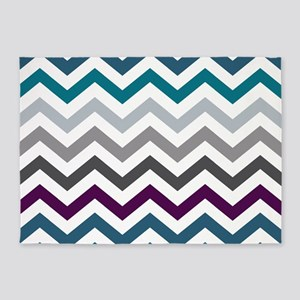 Purple, Blue & Grey Chevron Pattern 5'x7'Area Rug