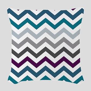 Purple, Blue & Grey Chevron Pa Woven Throw Pillow