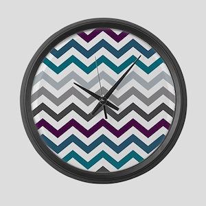 Purple, Blue & Grey Chevron Patte Large Wall Clock