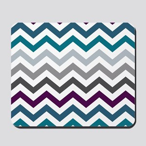 Purple, Blue & Grey Chevron Pattern Mousepad