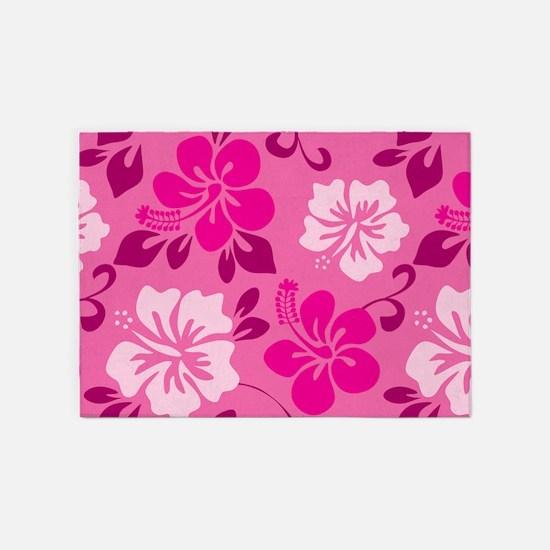 Shades Of Pink Hawaiian Hibiscus 5x7Area Rug