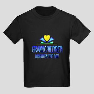 Grandchildren Brighten the Day Kids Dark T-Shirt