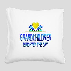 Grandchildren Brighten the Da Square Canvas Pillow