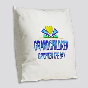 Grandchildren Brighten the Day Burlap Throw Pillow