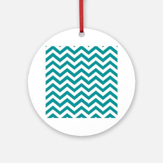 Blue, Teal: Chevron Pattern Round Ornament