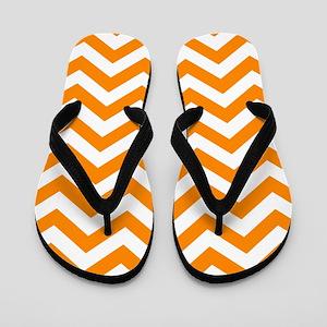 Orange: Chevron Pattern Flip Flops