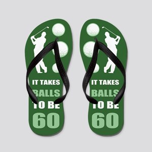 Funny Golf 60th Birthday Flip Flops