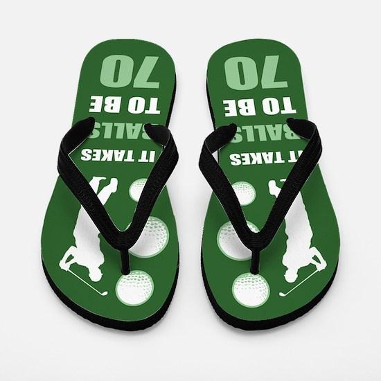 Funny Golf 70th Birthday Flip Flops