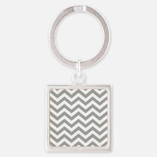 Grey, Fog: Chevron Pattern Square Keychain