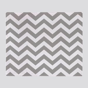 Grey, Fog: Chevron Pattern Throw Blanket