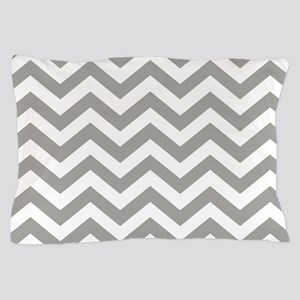 Grey, Fog: Chevron Pattern Pillow Case