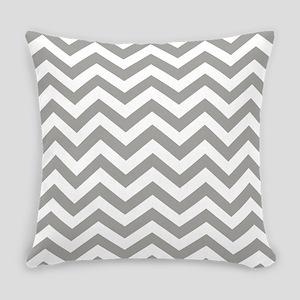 Grey, Fog: Chevron Pattern Everyday Pillow